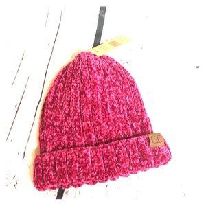 C.C. Dark Pink Chenille Beanie NWT